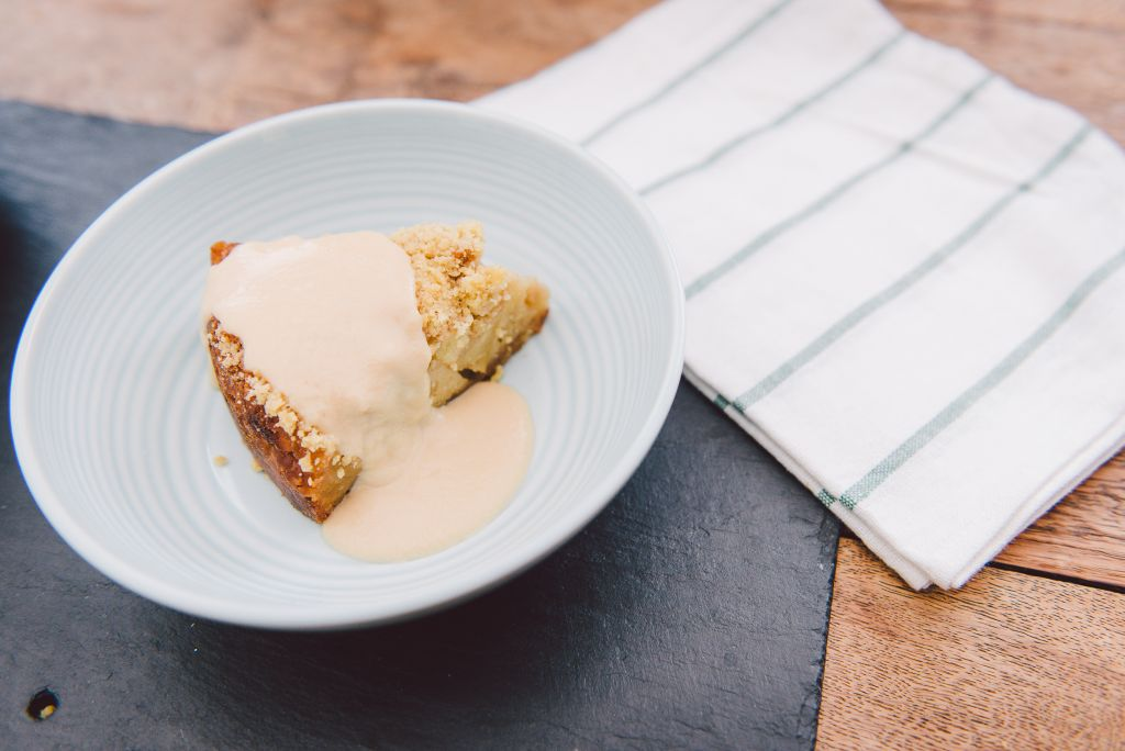 Ginger Cake With Apples And Caramel Topping